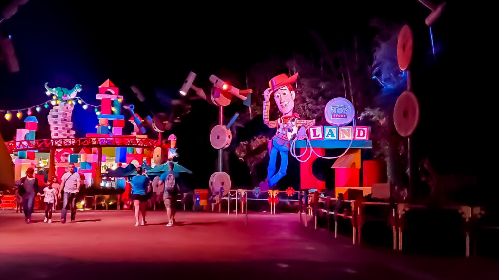 Entrance to Toy Story Land in the dark